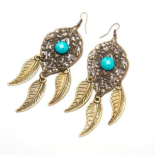 Goldtone Leaf Chandelier Earrings with Faux Turquoise Gemstones (India)