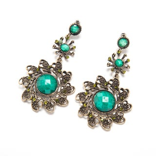 Goldtone Chandelier Fashion Earrings with Green Beads (India)