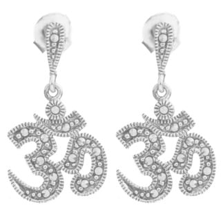 Sterling Silver Marcasite Om Earrings (India)
