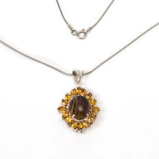 Sterling Silver Tiger Eye and Citrine Necklace (India)