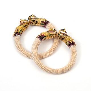 Set of 2 Handmade Artisan Enamel Peacock Cuff Bracelets (India)