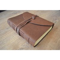 Handmade Sitara Luxury Leather Journal with Tie Closure and Unlined Paper (India)