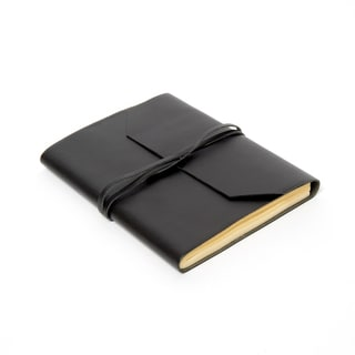 Sitara Handmade Black Leather Journal with Leather Tie Closure and Unlined Paper (India)