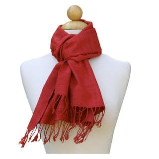 Luscious Red Hand-Woven Scarf (India)
