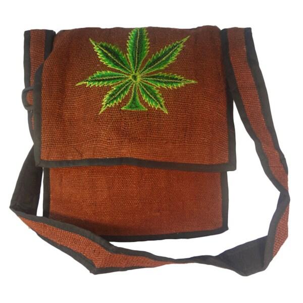 Handmade Hemp Rasta Cannabis Leaf Art Red Shoulder Bag (Nepal)