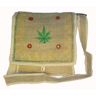 Handmade Bohemian Cannabis Leaf Embroidered Hemp Shoulder Bag (Nepal)