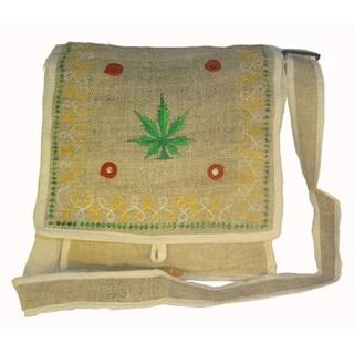 Handmade Bohemian Cannabis Leaf Embroidered Hemp Shoulder Bag (Nepal)