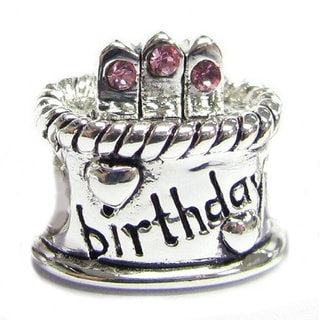 Queenberry Sterling Silver Cubic Zirconia October Birthstone Birthday Cake European Bead Charm