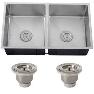 Ticor 6511BG-BASK 16 Gauge 31.25-inch Stainless Steel Double Bowl Tight Radius Undermount Square Kitche