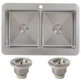 Ticor TR1800BG-BASK 33 Inch 16 Gauge Double Bowl Stainless Steel Overmount Drop-in Kitchen Sink