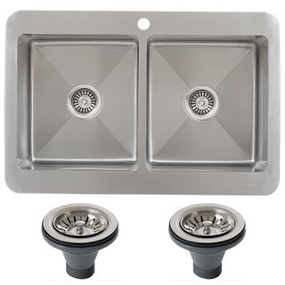 Ticor TR1800BG-DEL 33 Inch 16 Gauge Double Bowl Stainless Steel Overmount Drop-in Kitchen Sink
