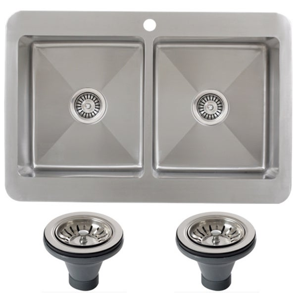 Drop In Kitchen Sinks Double Bowl : ... 16 Gauge Double Bowl Stainless Steel Overmount Drop-in Kitchen Sink