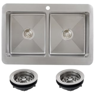 Ticor TR1800BG-TREG 33 Inch 16 Gauge Double Bowl Stainless Steel Overmount Drop-in Kitchen Sink