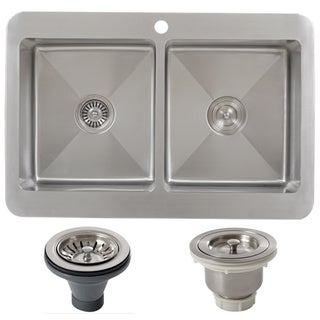 Ticor TR1800BG-BASK-DEL 33 Inch 16 Gauge Double Bowl Stainless Steel Overmount Drop-in Kitchen Sink