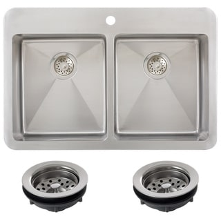Ticor TR1700BG-TREG 33 Inch 16 Gauge Double Bowl Stainless Steel Overmount Drop-in Kitchen Sink