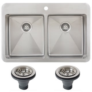 Ticor TR1700BG-DEL 33 Inch 16 Gauge Double Bowl Stainless Steel Overmount Drop-in Kitchen Sink
