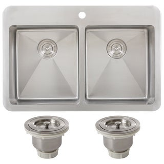 Ticor TR1700BG-BASK 33 Inch 16 Gauge Double Bowl Stainless Steel Overmount Drop-in Kitchen Sink