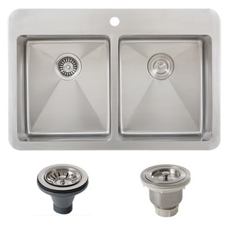 Ticor TR1700BG-BASK-DEL 33 Inch 16 Gauge Double Bowl Stainless Steel Overmount Drop-in Kitchen Sink