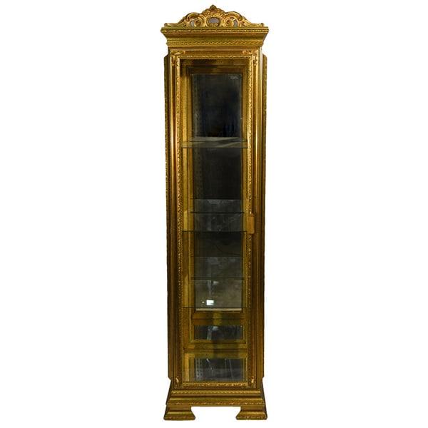 Goldtone Italian Handmade Single Door Curio Cabinet