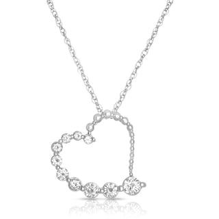 Eloquence 14k White Gold 1/2ct Bezel-set Diamond Heart Pendant Necklace (I-J, SI1-SI2)