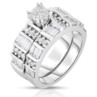 Eloquence 14k White Gold 1 1/2ct TDW 4-Stone Pie Cut Wedding Set (H-I, I1-I2)