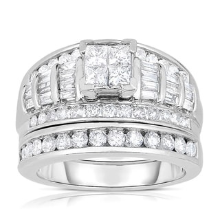 Eloquence 14k White Gold 1 1/2ct TDW Composite Wedding Set
