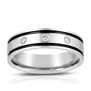 Eloquence 14k White Gold 1/8ct TDW Striped Men's Wedding Band