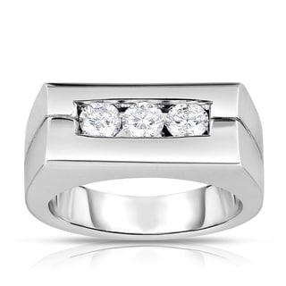 Eloquence 14k White Gold 3/4ct TDW Men's Rectangle Diamond Ring (I-J, SI1-SI2)