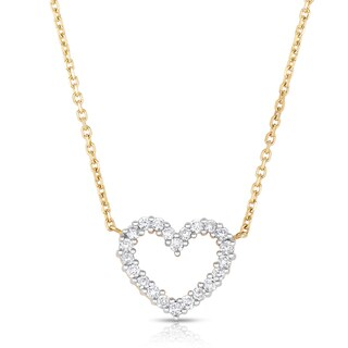 Eloquence 14k Two-tone Gold 1/2ct TDW Diamond Heart Pendant (H-I, I1-I2)