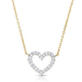 Eloquence 14k Two-tone Gold 1/2ct TDW Diamond Heart Pendant