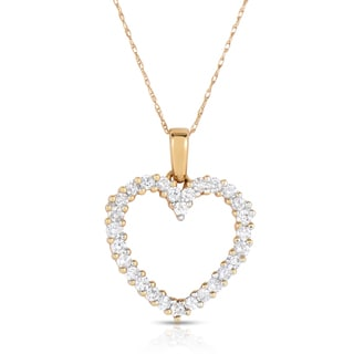 Eloquence 14k Yellow Gold 1ct TDW Diamond Heart Pendant (H-I, I1-I2)