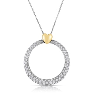 Eloquence 18k Two-tone Gold 1 1/3ct TDW Diamond Circle Pendant (H-I, SI1-SI2)