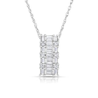 Eloquence 18k White Gold 7/8ct TDW Baguette and Round Diamond Pendant (H-I, SI2)