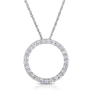 Eloquence 14k White Gold 1 1/10ct TDW Diamond Circle Necklace (I-J, SI1-SI2)