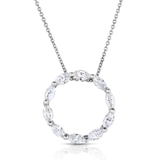 Eloquence 14k White Gold 2ct TDW Diamond Circle Pendant Necklace (H-I, SI1-SI2)