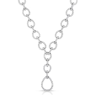 Eloquence 14k White Gold 2ct TDW Diamond Link Necklace (H-I, SI1-SI2)