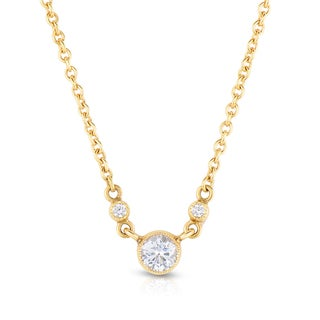 Eloquence 18k Yellow Gold 1/4ct TDW Solitaire Station Diamond Necklace