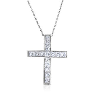 Eloquence 18k White Gold 2 3/5ct TDW Diamond Cross Pendant Necklace (H-I, SI1-SI2)