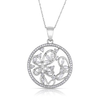 Eloquence 14k White Gold 7/8ct TDW Diamond Pendant Necklace (J-K, SI1-SI2)