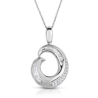 Eloquence 14k White Gold 1/2ct TDW White Diamond Swirl Circle Pendant (G-H, I1-I2)