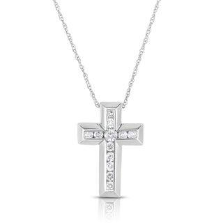 Eloquence 10k White Gold 1/4ct TDW Diamond Cross Pendant (G-H, I1-I2)