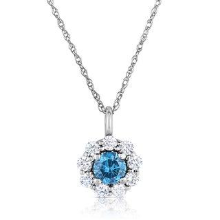 Eloquence 14k White Gold 1ct TDW Diamond Halo Pendant (G-H, I1-I2)