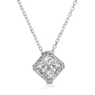 Eloquence 14k White Gold 1 1/6ct TDW Diamond Halo Pendant (G-H, I1-I2)