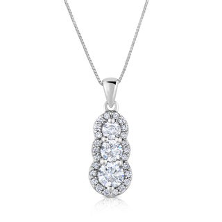 Eloquence 18k White Gold 1 3/8ct TDW 3-stone Journey Diamond Pendant (H-I, VS1-VS2)