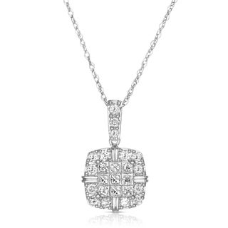 Eloquence 14k White Gold 1 1/10ct TDW Diamond Halo Pendant Necklace (H-I, S12-S13)
