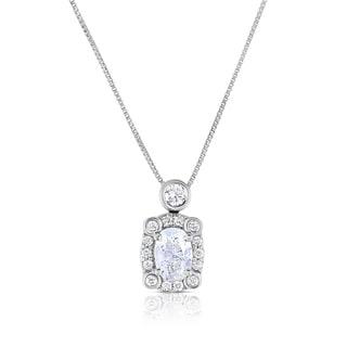 Eloquence 14k White Gold 3/4ct TDW Oval Diamond Pendant (H-I, I1-I2)