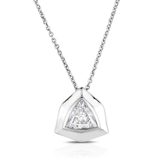Eloquence 18k White Gold 2ct TDW Trillion-cut Diamond Pendant (H-I, SI2-SI3)