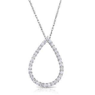 Eloquence 14k White Gold 1/2ct TDW Diamond Pendant (H-I, I1-I2)