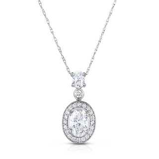 Eloquence 14k White Gold 1 1/3ct TDW Diamond Round Pendant Necklace (H-I, I1-I2)