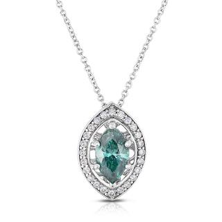 Eloquence 14k White Gold 1 1/4ct TDW Blue and White Diamond Pendant Necklace (H-I, I1-I2)
